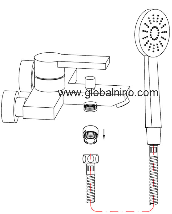 "G1/2"" shower connector with flow regulator install instruction"